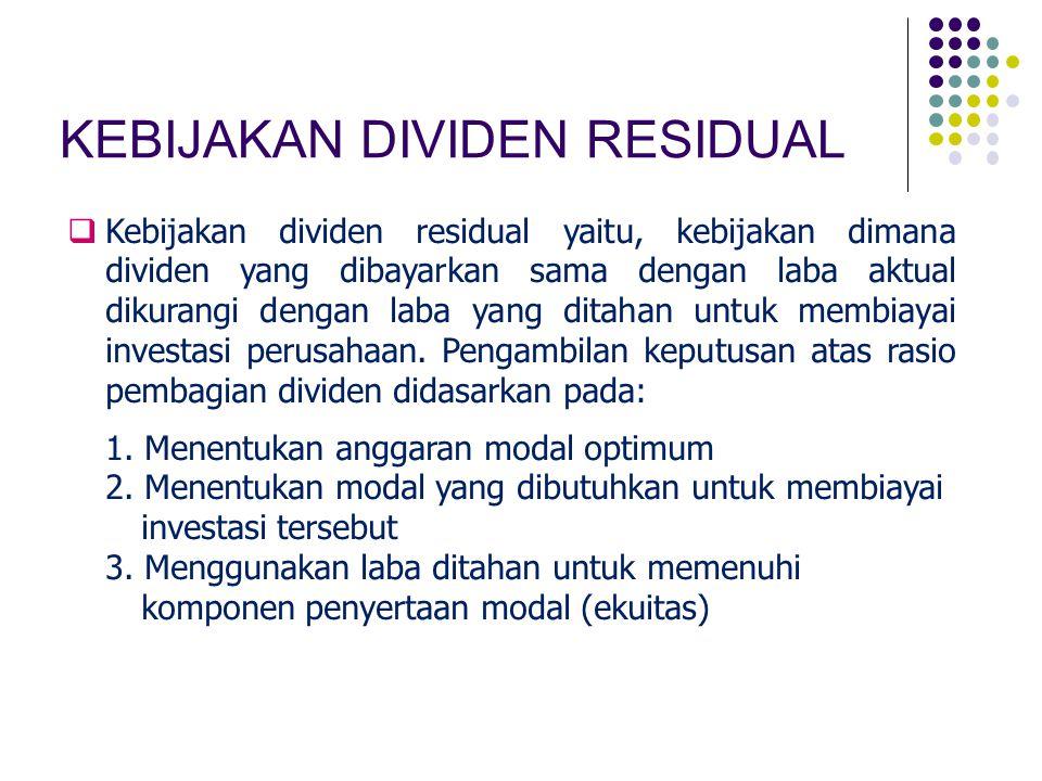 KEBIJAKAN DIVIDEN RESIDUAL  Kebijakan dividen residual yaitu, kebijakan dimana dividen yang dibayarkan sama dengan laba aktual dikurangi dengan laba
