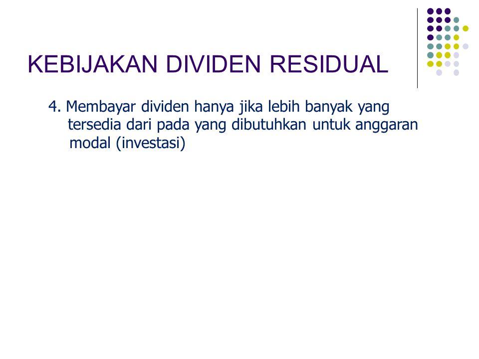 KEBIJAKAN DIVIDEN RESIDUAL 4. Membayar dividen hanya jika lebih banyak yang tersedia dari pada yang dibutuhkan untuk anggaran modal (investasi)