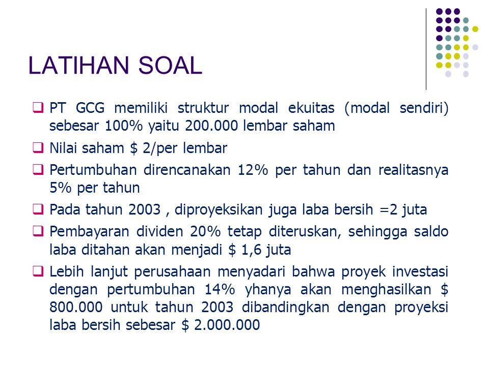 LATIHAN SOAL  PT GCG memiliki struktur modal ekuitas (modal sendiri) sebesar 100% yaitu 200.000 lembar saham  Nilai saham $ 2/per lembar  Pertumbuh