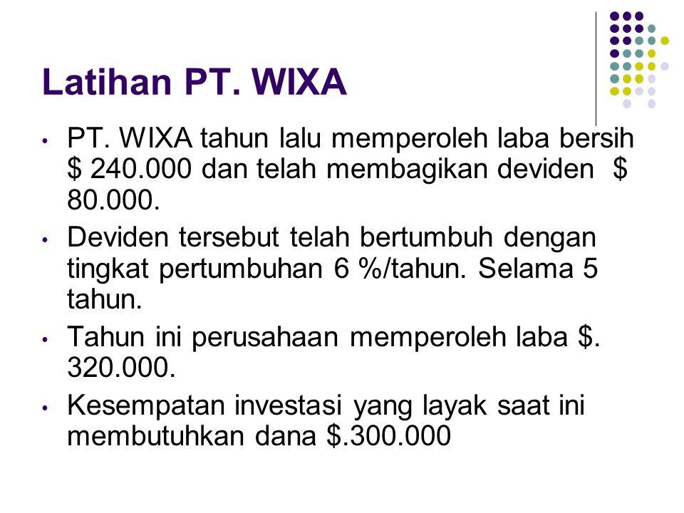 Latihan PT. WIXA PT. WIXA tahun lalu memperoleh laba bersih $ 240.000 dan telah membagikan deviden $ 80.000. Deviden tersebut telah bertumbuh dengan t