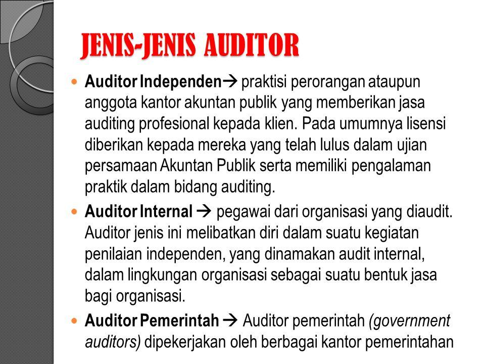 JENIS-JENIS AUDITOR Auditor Independen  praktisi perorangan ataupun anggota kantor akuntan publik yang memberikan jasa auditing profesional kepada klien.
