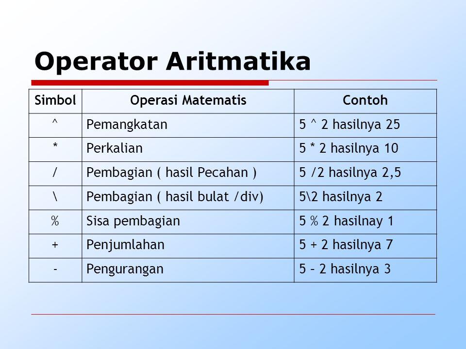 Operator Aritmatika SimbolOperasi MatematisContoh ^Pemangkatan5 ^ 2 hasilnya 25 *Perkalian5 * 2 hasilnya 10 /Pembagian ( hasil Pecahan )5 /2 hasilnya 2,5 \Pembagian ( hasil bulat /div)5\2 hasilnya 2 %Sisa pembagian5 % 2 hasilnay 1 +Penjumlahan5 + 2 hasilnya 7 -Pengurangan5 – 2 hasilnya 3
