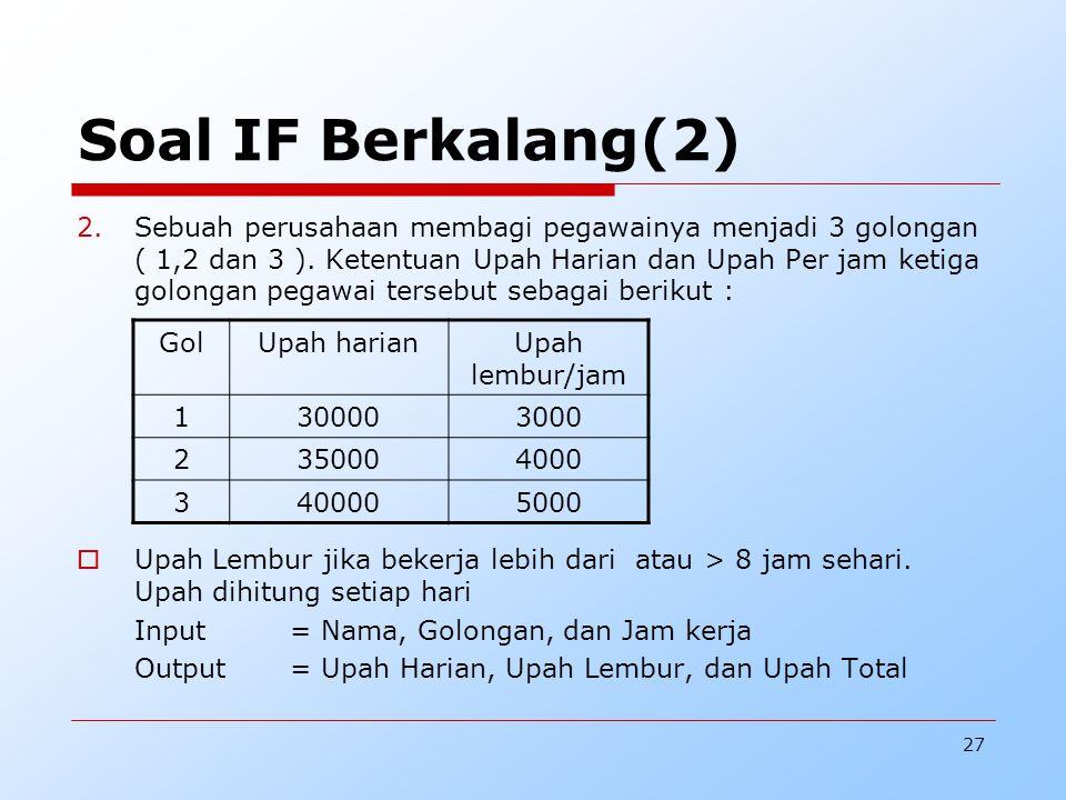 27 Soal IF Berkalang(2) 2.Sebuah perusahaan membagi pegawainya menjadi 3 golongan ( 1,2 dan 3 ).