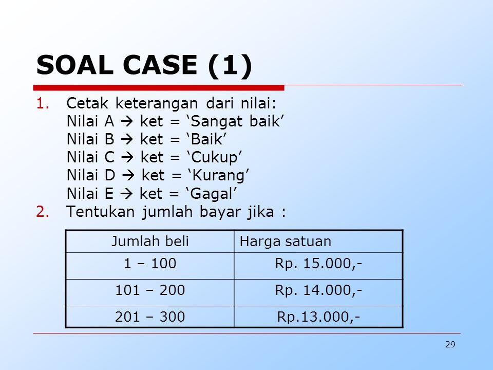 29 SOAL CASE (1) 1.Cetak keterangan dari nilai: Nilai A  ket = 'Sangat baik' Nilai B  ket = 'Baik' Nilai C  ket = 'Cukup' Nilai D  ket = 'Kurang' Nilai E  ket = 'Gagal' 2.Tentukan jumlah bayar jika : Jumlah beliHarga satuan 1 – 100Rp.