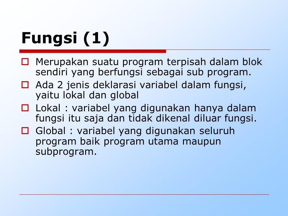  Merupakan suatu program terpisah dalam blok sendiri yang berfungsi sebagai sub program.  Ada 2 jenis deklarasi variabel dalam fungsi, yaitu lokal d