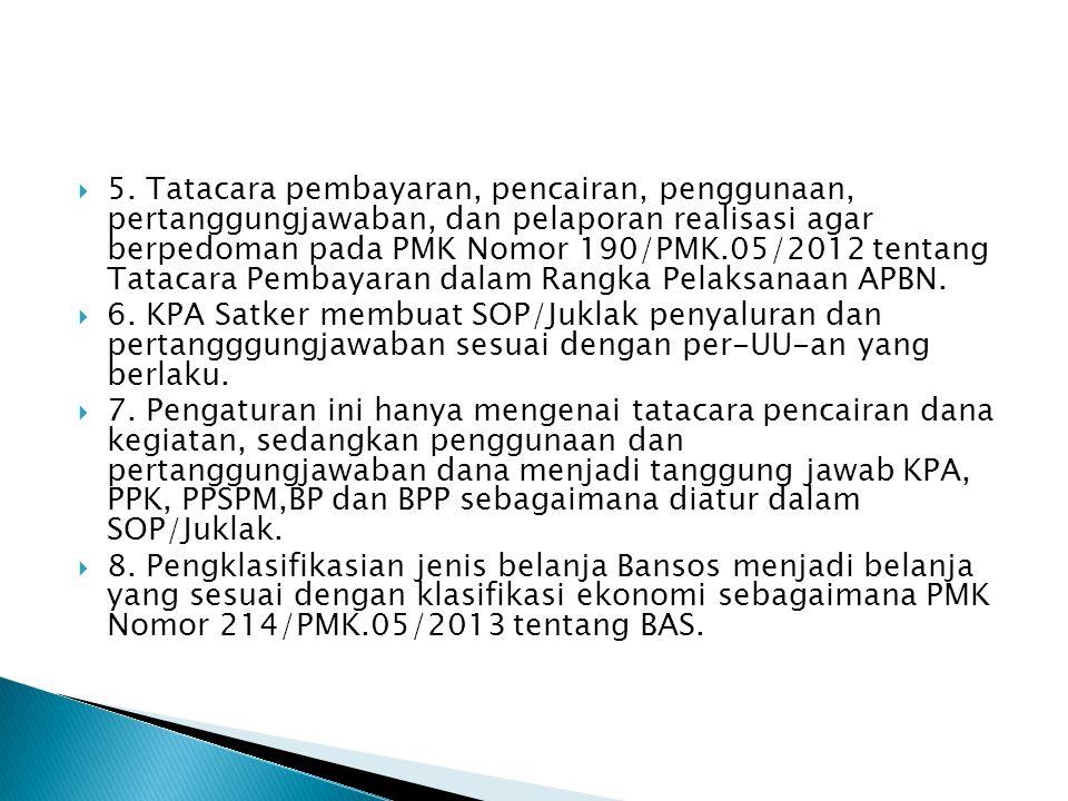  5. Tatacara pembayaran, pencairan, penggunaan, pertanggungjawaban, dan pelaporan realisasi agar berpedoman pada PMK Nomor 190/PMK.05/2012 tentang Ta