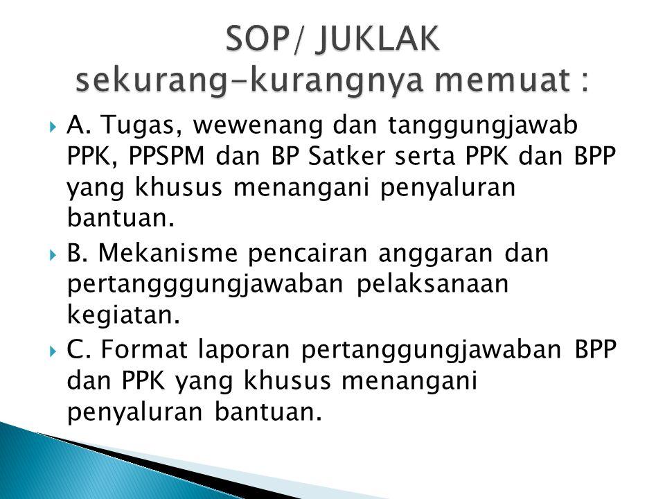 A. Tugas, wewenang dan tanggungjawab PPK, PPSPM dan BP Satker serta PPK dan BPP yang khusus menangani penyaluran bantuan.  B. Mekanisme pencairan a