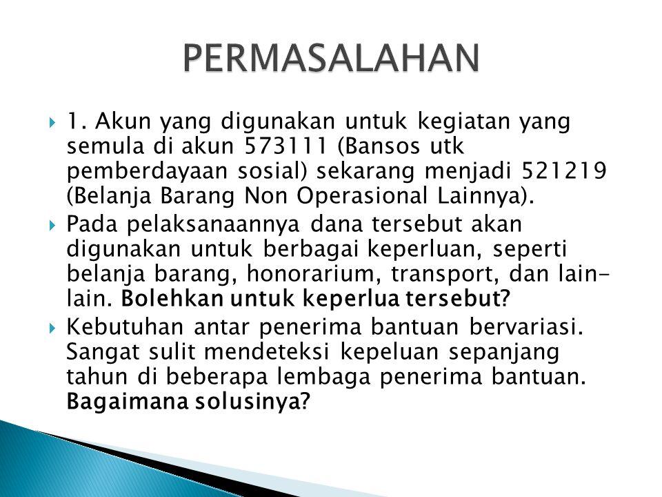  1. Akun yang digunakan untuk kegiatan yang semula di akun 573111 (Bansos utk pemberdayaan sosial) sekarang menjadi 521219 (Belanja Barang Non Operas