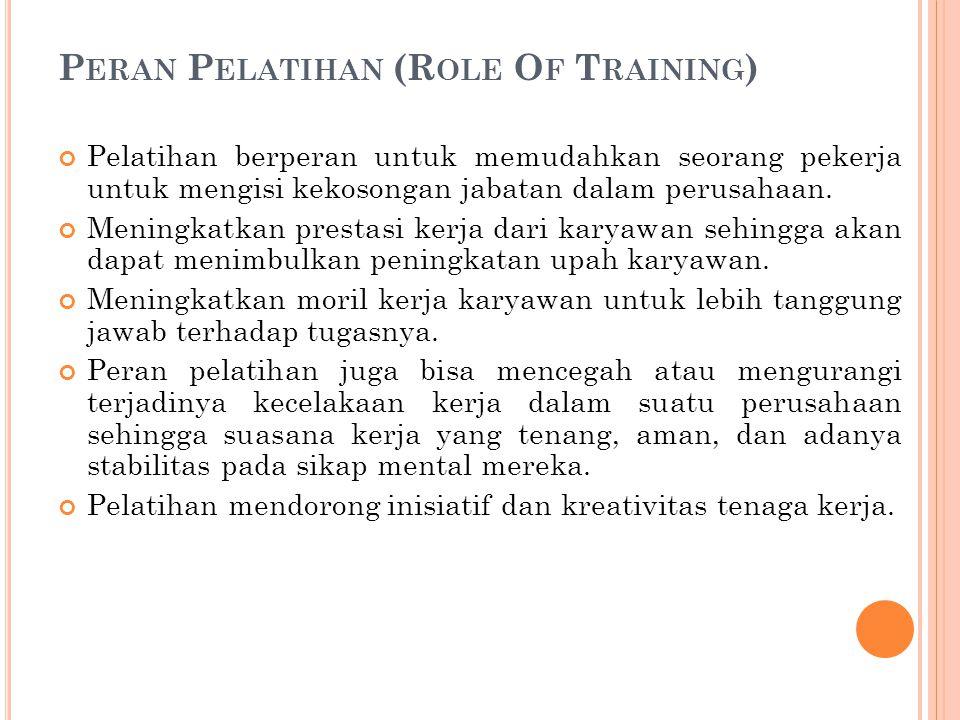 P ERAN P ELATIHAN (R OLE O F T RAINING ) Pelatihan berperan untuk memudahkan seorang pekerja untuk mengisi kekosongan jabatan dalam perusahaan. Mening