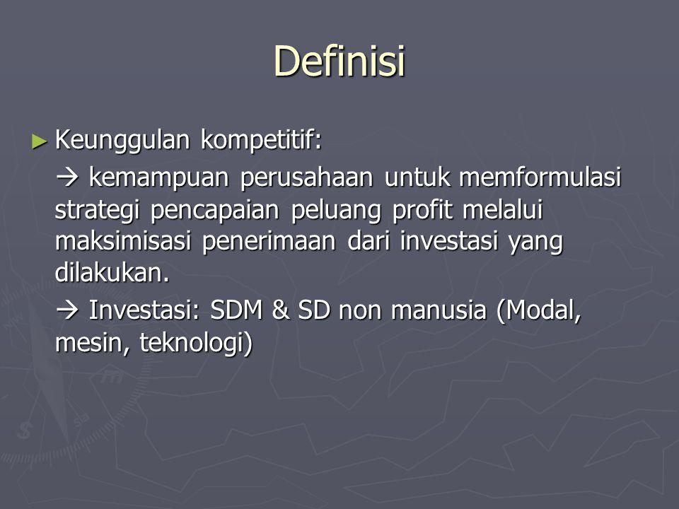 Definisi ► Keunggulan kompetitif:  kemampuan perusahaan untuk memformulasi strategi pencapaian peluang profit melalui maksimisasi penerimaan dari inv