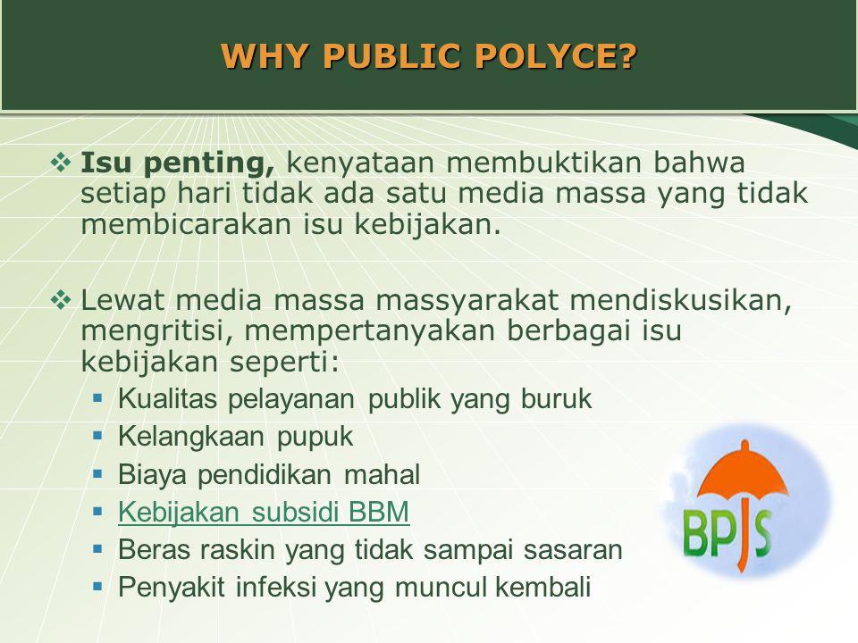 WHY PUBLIC POLYCE?  Isu penting, kenyataan membuktikan bahwa setiap hari tidak ada satu media massa yang tidak membicarakan isu kebijakan.  Lewat me