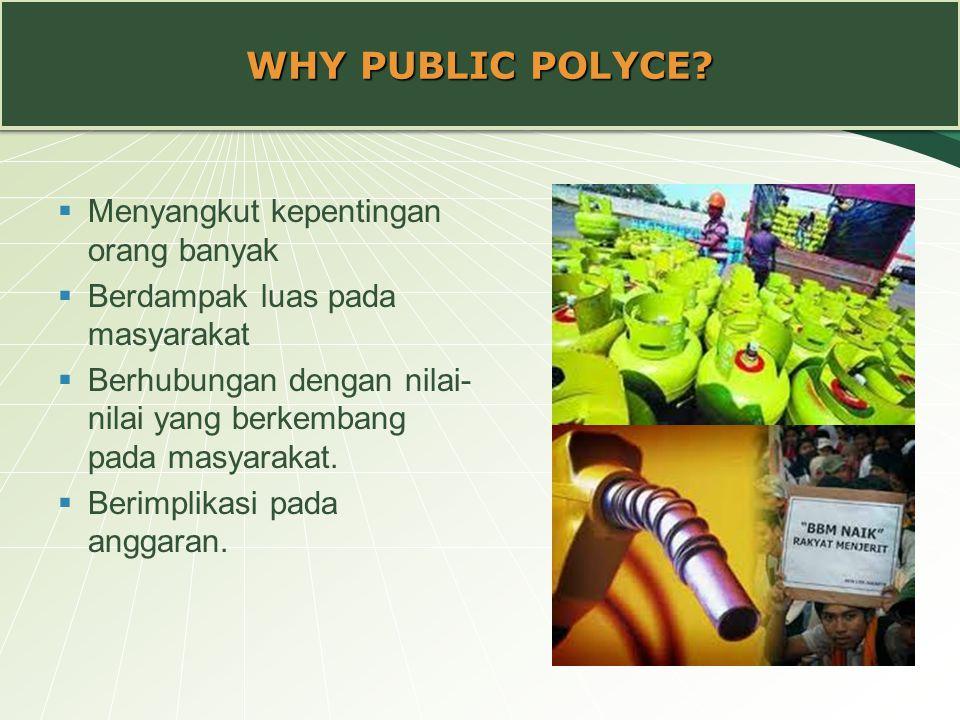 WHY PUBLIC POLYCE?  Menyangkut kepentingan orang banyak  Berdampak luas pada masyarakat  Berhubungan dengan nilai- nilai yang berkembang pada masya