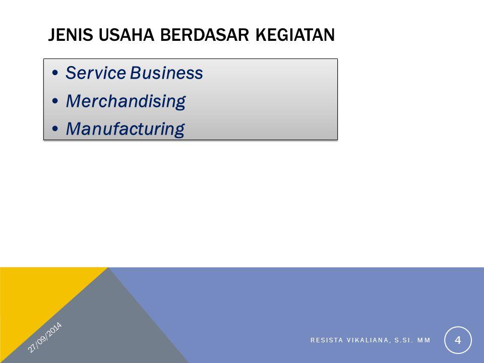 JENIS USAHA BERDASAR KEGIATAN Service Business Merchandising Manufacturing Service Business Merchandising Manufacturing 27/09/2014 RESISTA VIKALIANA,