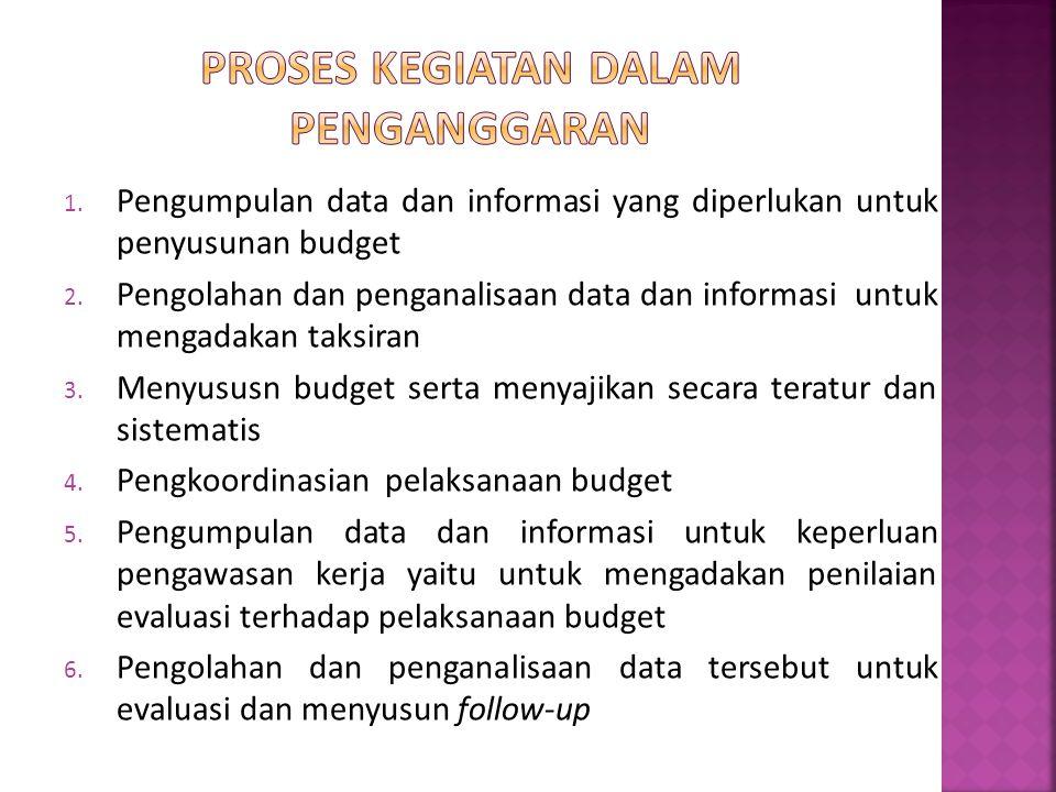 1. Pengumpulan data dan informasi yang diperlukan untuk penyusunan budget 2. Pengolahan dan penganalisaan data dan informasi untuk mengadakan taksiran