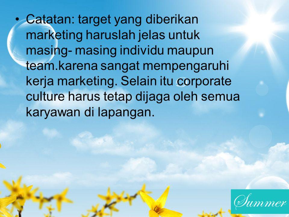 Catatan: target yang diberikan marketing haruslah jelas untuk masing- masing individu maupun team.karena sangat mempengaruhi kerja marketing. Selain i