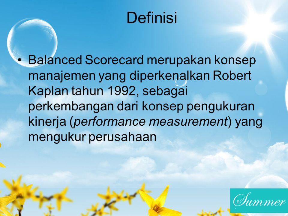 Definisi Balanced Scorecard merupakan konsep manajemen yang diperkenalkan Robert Kaplan tahun 1992, sebagai perkembangan dari konsep pengukuran kinerj
