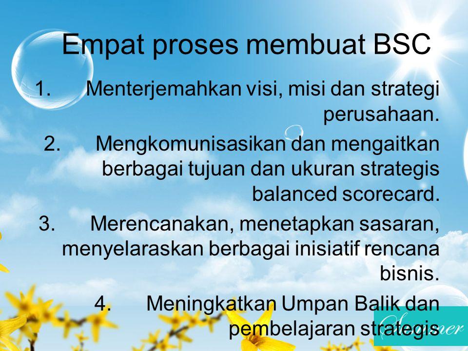 Empat proses membuat BSC 1. Menterjemahkan visi, misi dan strategi perusahaan. 2. Mengkomunisasikan dan mengaitkan berbagai tujuan dan ukuran strategi