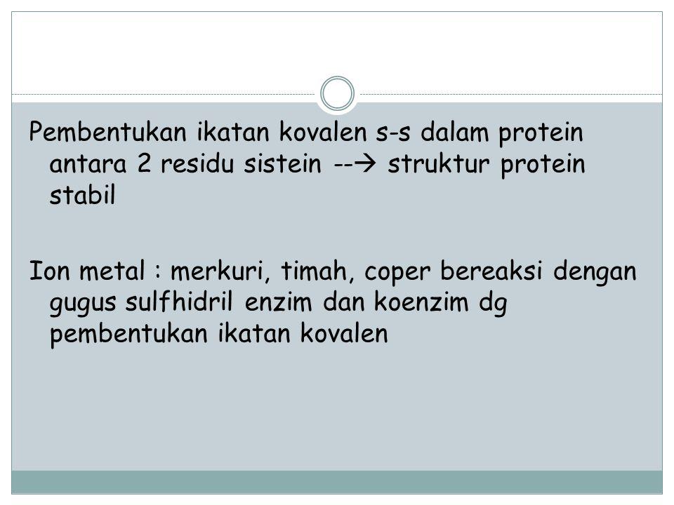 Pembentukan ikatan kovalen s-s dalam protein antara 2 residu sistein --  struktur protein stabil Ion metal : merkuri, timah, coper bereaksi dengan gu