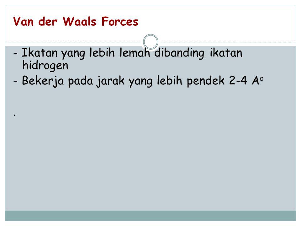 Van der Waals Forces - Ikatan yang lebih lemah dibanding ikatan hidrogen - Bekerja pada jarak yang lebih pendek 2-4 A o.