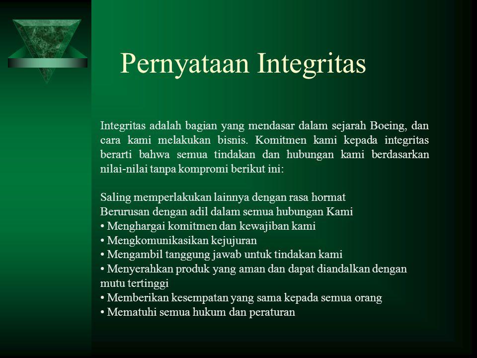 Pernyataan Integritas Integritas adalah bagian yang mendasar dalam sejarah Boeing, dan cara kami melakukan bisnis. Komitmen kami kepada integritas ber