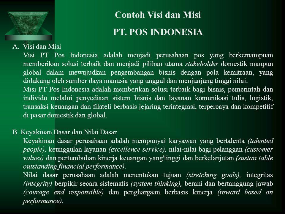 A. Visi dan Misi Visi PT Pos Indonesia adalah menjadi perusahaan pos yang berkemampuan memberikan solusi terbaik dan menjadi pilihan utama stakeholder