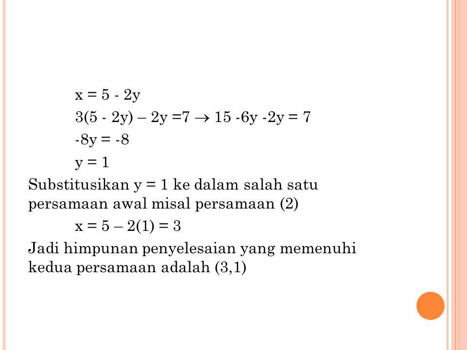 x = 5 - 2y 3(5 - 2y) – 2y =7  15 -6y -2y = 7 -8y = -8 y = 1 Substitusikan y = 1 ke dalam salah satu persamaan awal misal persamaan (2) x = 5 – 2(1) =