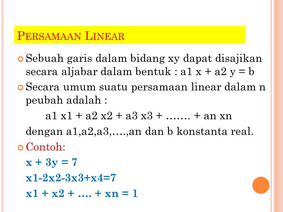 P ENYELESAIAN PERSAMAAN L INEAR Dapat diselesaikan dengan menggunakan model permisalan Contoh : 4x-2y=1 dapat diselesaikan dengan menetapkan sembarang nilai x dan diperoleh nilai y, misal : x = 2 ; y = 7/2 x1 – 4 x2 + 7 x3 = 5 dapat diselesaikan dengan menetapkan nilai sembarang untuk 2 peubah terserah, sehingga diperoleh nilai peubah yang lain misal : x1 = 2; x2 = 1; x3 = 1