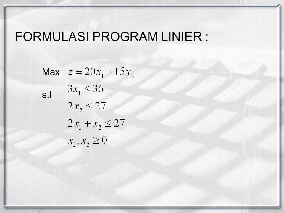 Max s.l FORMULASI PROGRAM LINIER :
