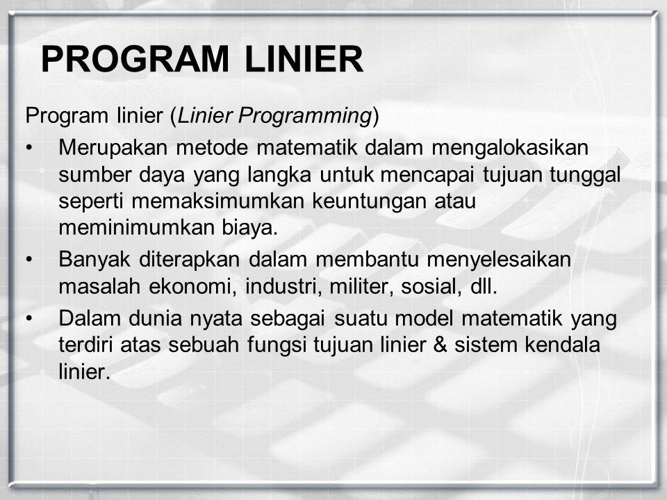 PROGRAM LINIER Program linier (Linier Programming) Merupakan metode matematik dalam mengalokasikan sumber daya yang langka untuk mencapai tujuan tungg