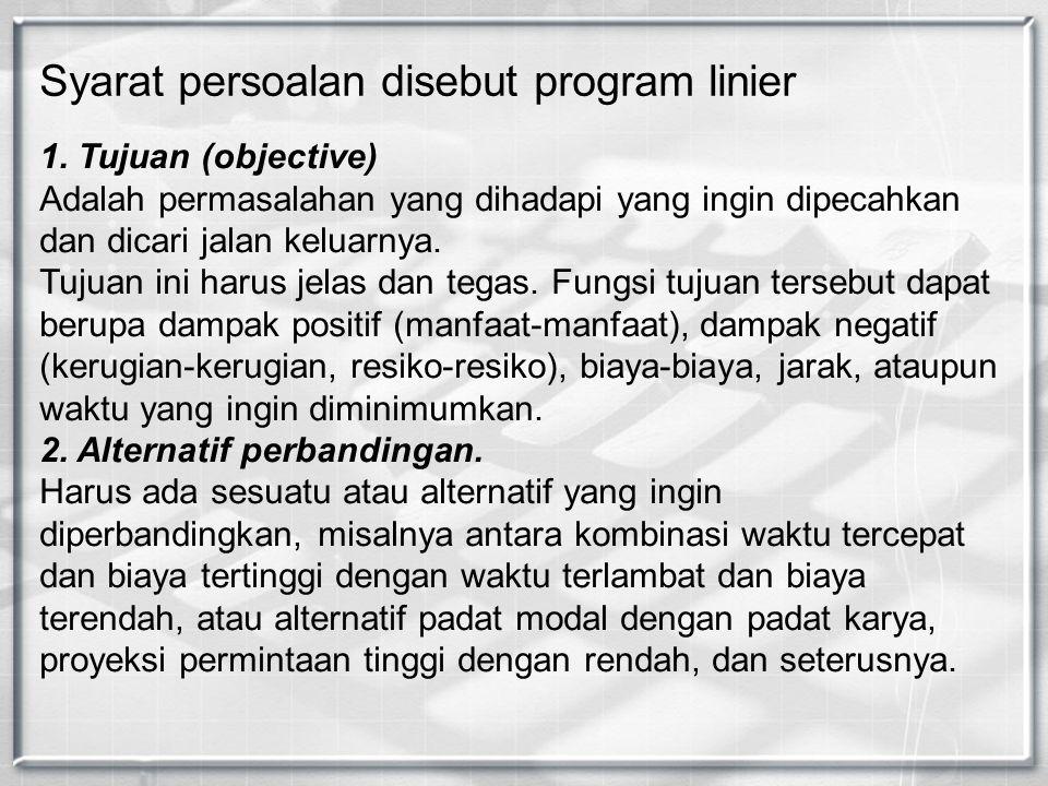 1. Tujuan (objective) Adalah permasalahan yang dihadapi yang ingin dipecahkan dan dicari jalan keluarnya. Tujuan ini harus jelas dan tegas. Fungsi tuj