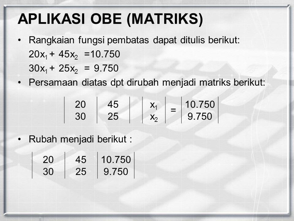 APLIKASI OBE (MATRIKS) Rangkaian fungsi pembatas dapat ditulis berikut: 20x 1 +45x 2 =10.750 30x 1 +25x 2 =9.750 Persamaan diatas dpt dirubah menjadi