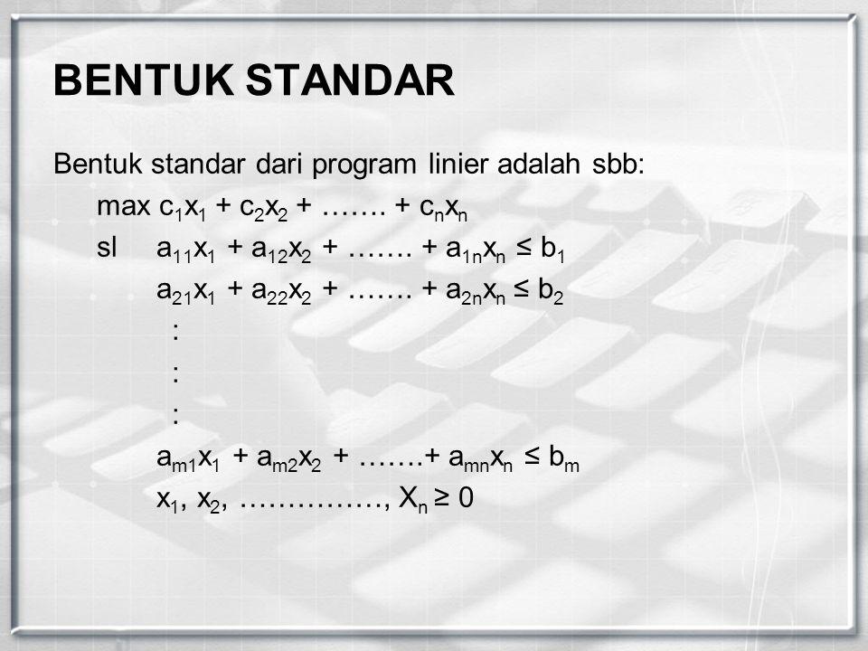 BENTUK STANDAR Bentuk standar dari program linier adalah sbb: max c 1 x 1 + c 2 x 2 + ……. + c n x n sl a 11 x 1 + a 12 x 2 + ……. + a 1n x n ≤ b 1 a 21