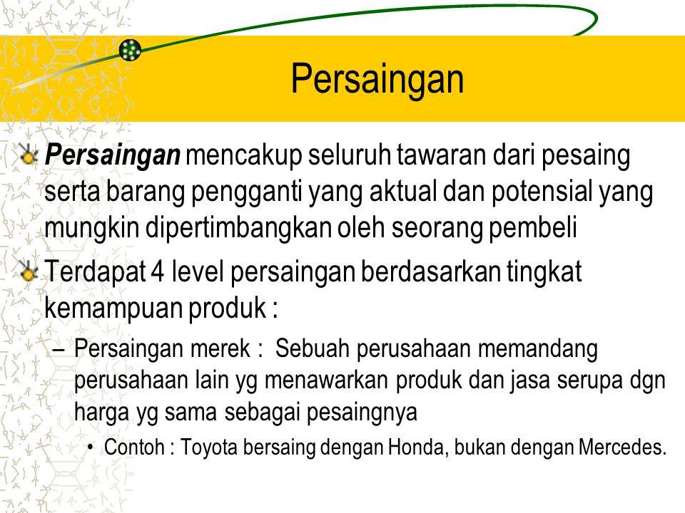 Persaingan Persaingan mencakup seluruh tawaran dari pesaing serta barang pengganti yang aktual dan potensial yang mungkin dipertimbangkan oleh seorang pembeli Terdapat 4 level persaingan berdasarkan tingkat kemampuan produk : –Persaingan merek : Sebuah perusahaan memandang perusahaan lain yg menawarkan produk dan jasa serupa dgn harga yg sama sebagai pesaingnya Contoh : Toyota bersaing dengan Honda, bukan dengan Mercedes.