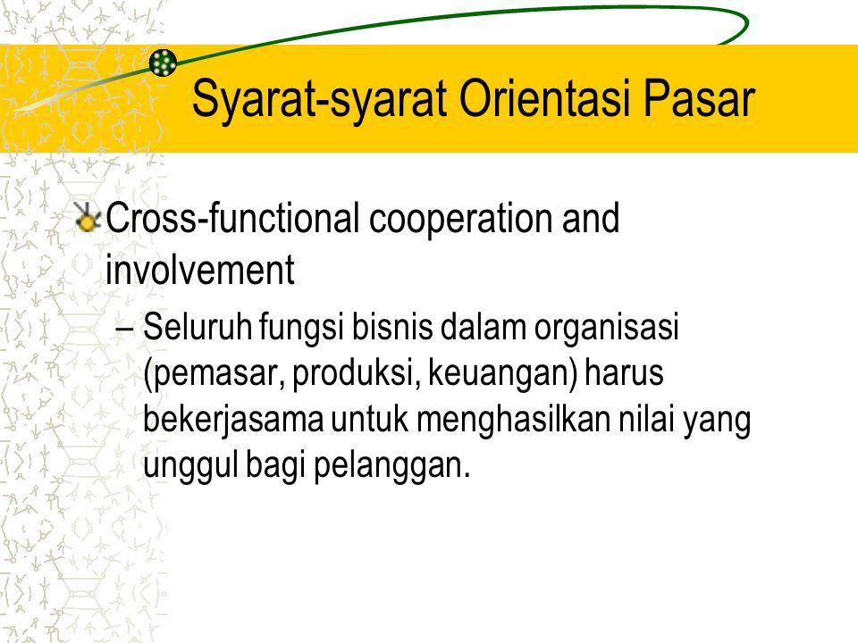 Syarat-syarat Orientasi Pasar Cross-functional cooperation and involvement –Seluruh fungsi bisnis dalam organisasi (pemasar, produksi, keuangan) harus bekerjasama untuk menghasilkan nilai yang unggul bagi pelanggan.