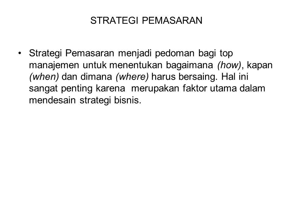 STRATEGI PEMASARAN Strategi Pemasaran menjadi pedoman bagi top manajemen untuk menentukan bagaimana (how), kapan (when) dan dimana (where) harus bersa