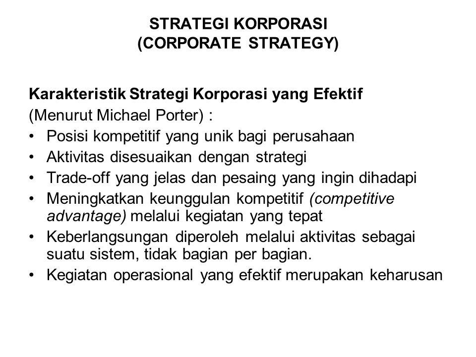 STRATEGI KORPORASI (CORPORATE STRATEGY) Karakteristik Strategi Korporasi yang Efektif (Menurut Michael Porter) : Posisi kompetitif yang unik bagi peru