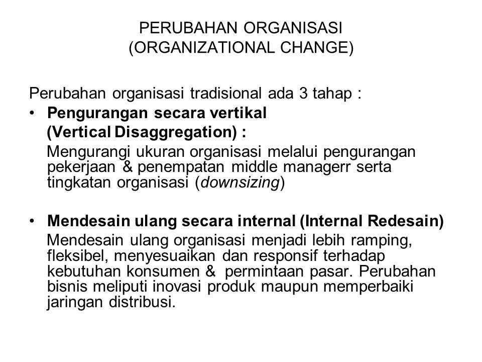 PERUBAHAN ORGANISASI Membentuk Organisasi Baru (New Organization Form) : Perubahan yang dikaitkan dengan organisasi lain dan proses yang digunakan sebagai dasar kosep organisasi.