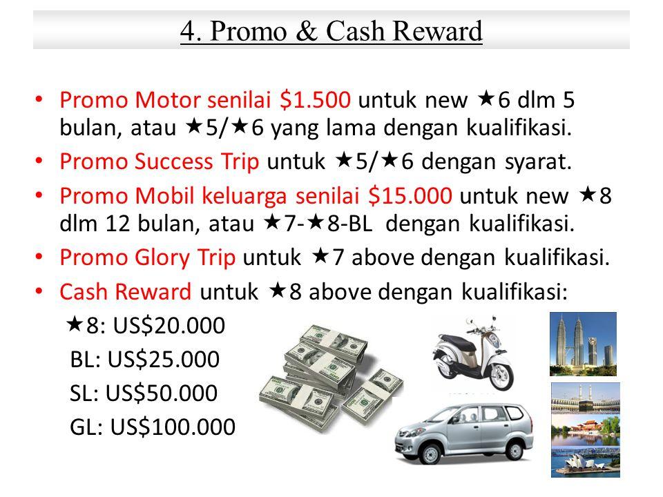 Promo Motor senilai $1.500 untuk new  6 dlm 5 bulan, atau  5/  6 yang lama dengan kualifikasi. Promo Success Trip untuk  5/  6 dengan syarat. Pro