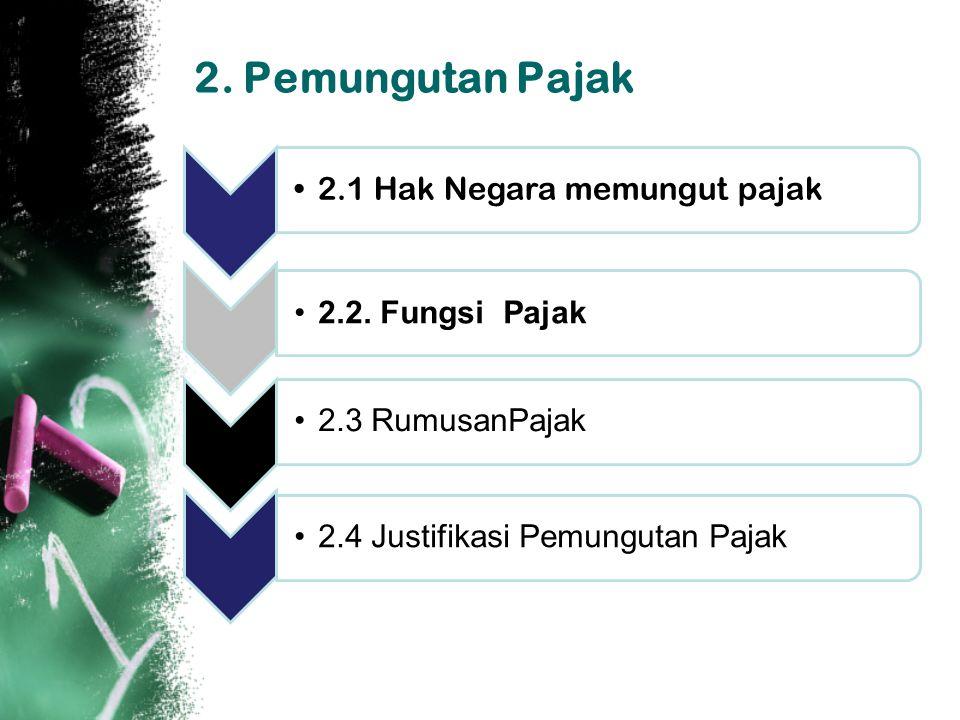 2.Pemungutan Pajak 2.1 Hak Negara memungut pajak 2.2.