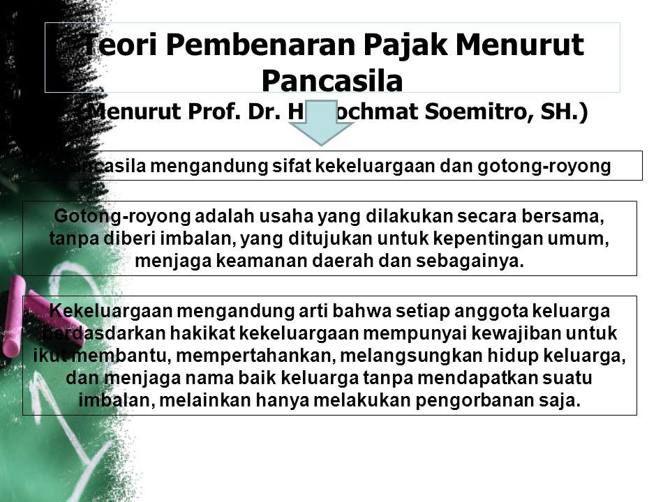 Teori Pembenaran Pajak Menurut Pancasila (Menurut Prof. Dr. H. Rochmat Soemitro, SH.) Pancasila mengandung sifat kekeluargaan dan gotong-royong Gotong