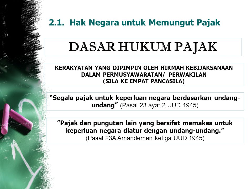 "2.1. Hak Negara untuk Memungut Pajak DASAR HUKUM PAJAK ""Segala pajak untuk keperluan negara berdasarkan undang- undang"" (Pasal 23 ayat 2 UUD 1945) ""Pa"