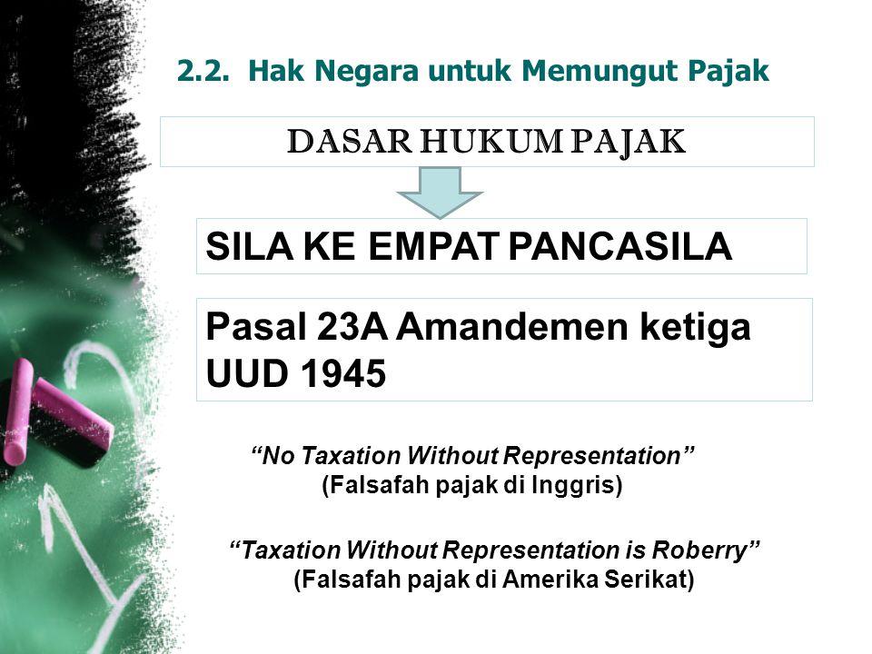 "2.2. Hak Negara untuk Memungut Pajak DASAR HUKUM PAJAK SILA KE EMPAT PANCASILA Pasal 23A Amandemen ketiga UUD 1945 ""No Taxation Without Representation"