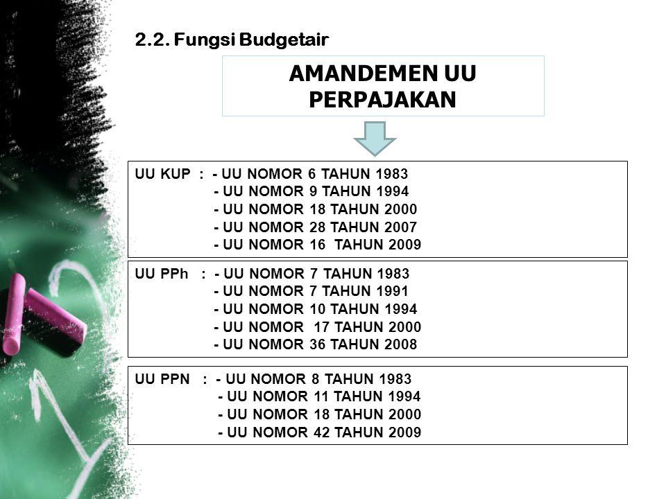 2.2. Fungsi Budgetair AMANDEMEN UU PERPAJAKAN UU KUP : - UU NOMOR 6 TAHUN 1983 - UU NOMOR 9 TAHUN 1994 - UU NOMOR 18 TAHUN 2000 - UU NOMOR 28 TAHUN 20