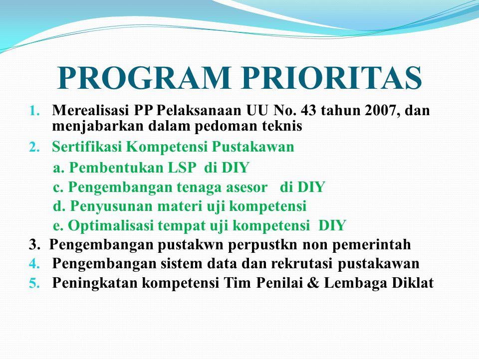 PROGRAM PRIORITAS 1. Merealisasi PP Pelaksanaan UU No. 43 tahun 2007, dan menjabarkan dalam pedoman teknis 2. Sertifikasi Kompetensi Pustakawan a. Pem