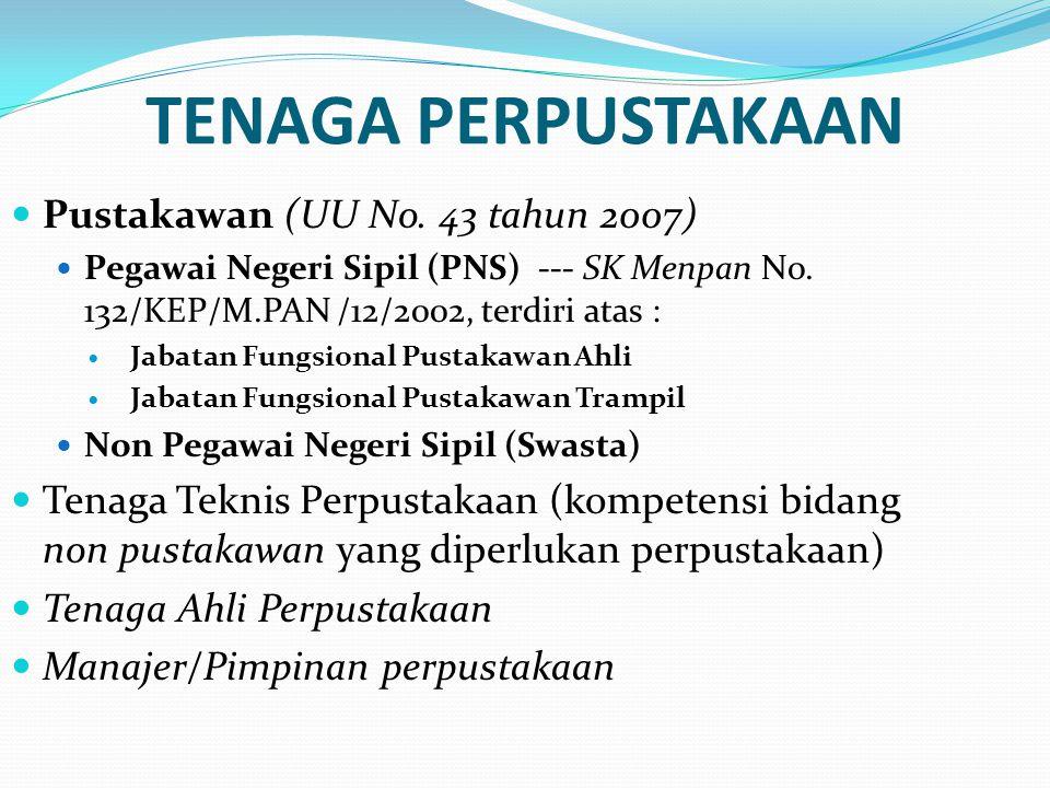 TENAGA PERPUSTAKAAN Pustakawan (UU No. 43 tahun 2007) Pegawai Negeri Sipil (PNS) --- SK Menpan No. 132/KEP/M.PAN /12/2002, terdiri atas : Jabatan Fung