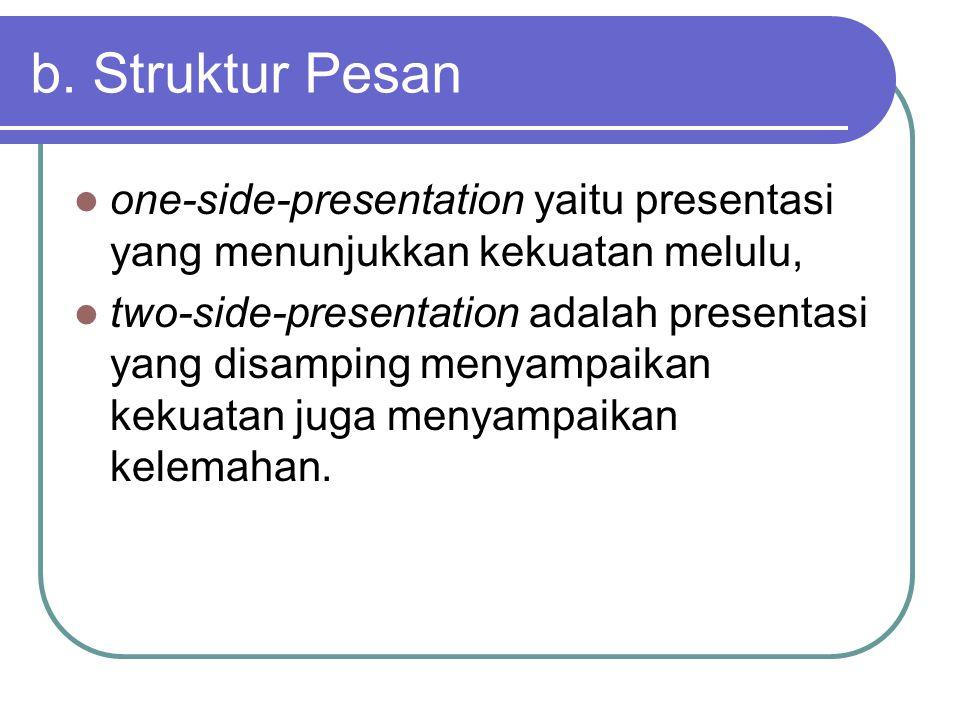 b. Struktur Pesan one-side-presentation yaitu presentasi yang menunjukkan kekuatan melulu, two-side-presentation adalah presentasi yang disamping meny