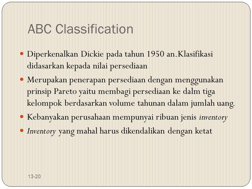 13-20 ABC Classification Diperkenalkan Dickie pada tahun 1950 an.Klasifikasi didasarkan kepada nilai persediaan Merupakan penerapan persediaan dengan