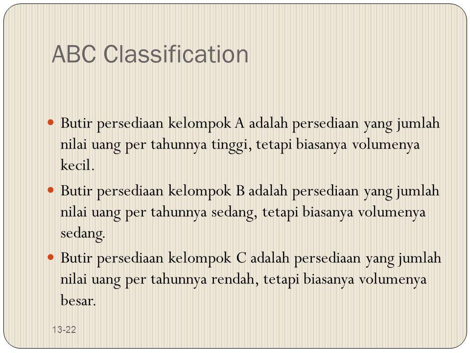13-22 ABC Classification Butir persediaan kelompok A adalah persediaan yang jumlah nilai uang per tahunnya tinggi, tetapi biasanya volumenya kecil. Bu