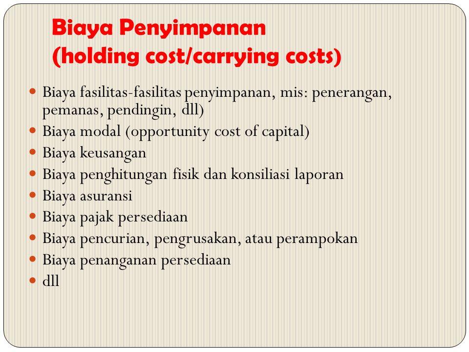 Biaya Penyimpanan (holding cost/carrying costs ) Biaya fasilitas-fasilitas penyimpanan, mis: penerangan, pemanas, pendingin, dll) Biaya modal (opportu