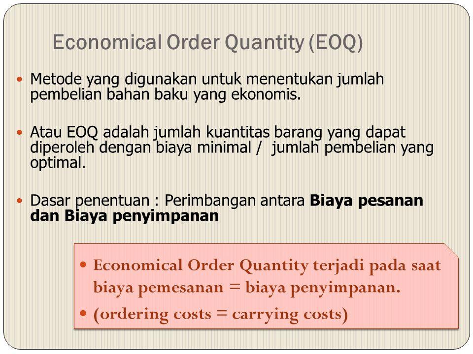 Economical Order Quantity (EOQ) Metode yang digunakan untuk menentukan jumlah pembelian bahan baku yang ekonomis. Atau EOQ adalah jumlah kuantitas bar